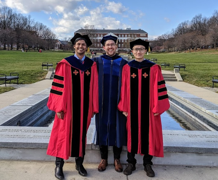 Faez Ahmed, Wei Chen, and Mark Fuge at UMD December 2019 Graduation.